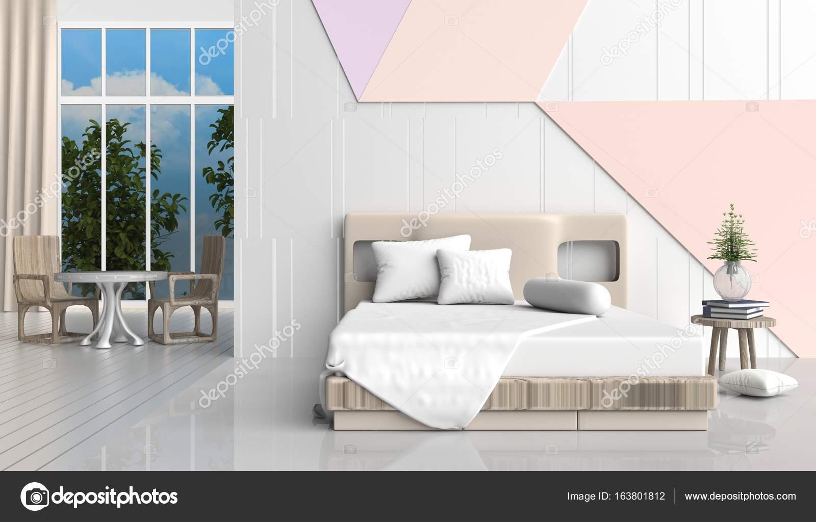 Chambre à coucher couleur pastel est décorée avec lit ...