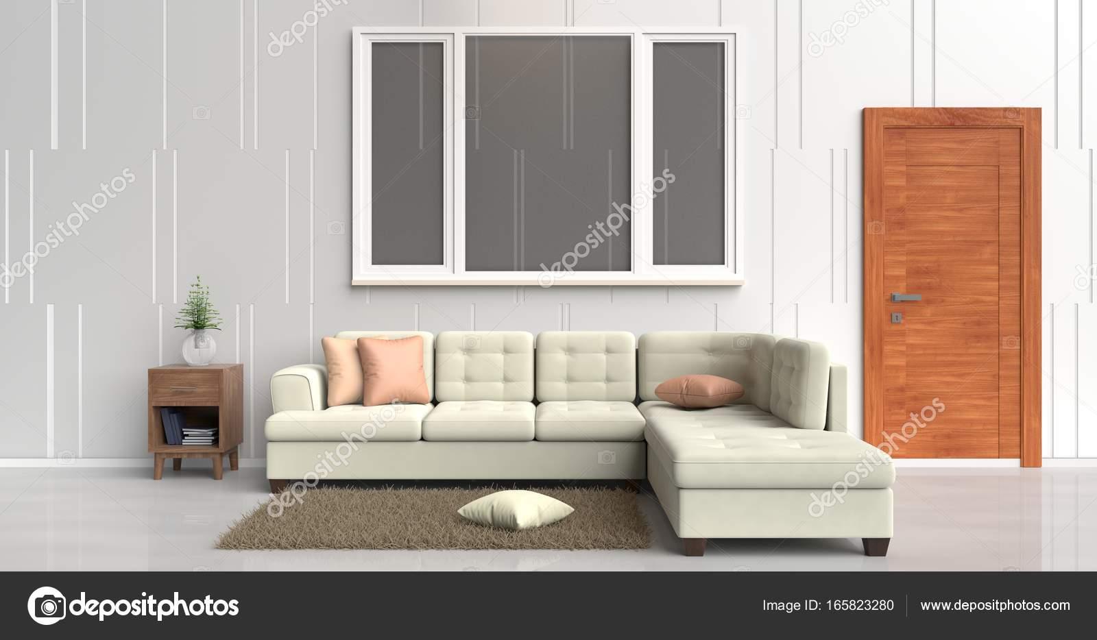 White room decorated with cream sofa,tree in glass vase, orange ...