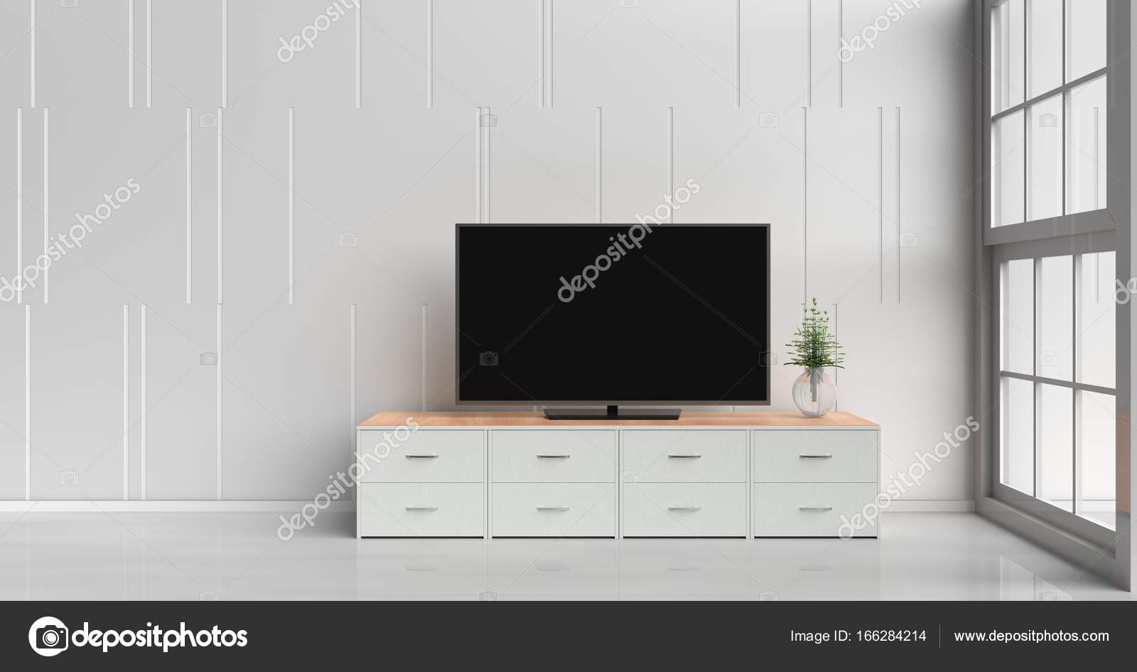 Smart tv on tv stand in white living room decorated with wood white ...