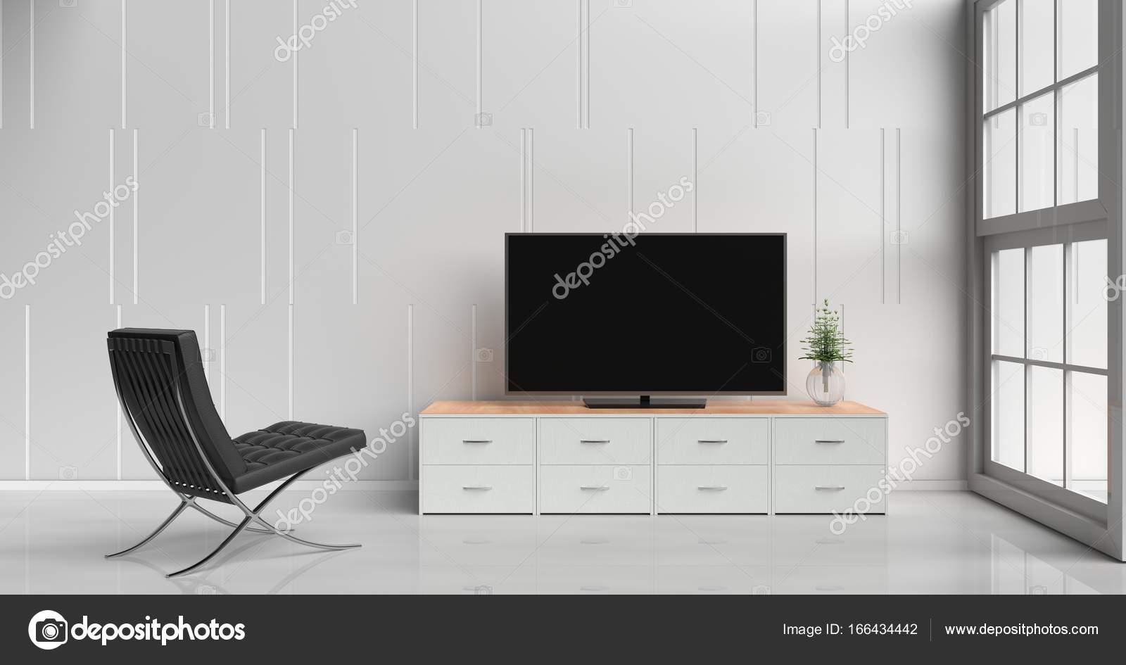 Carrinho Da Tev Inteligente Na Tv Na Sala De Estar Branca Decorada  -> Vasos Na Sala De Tv