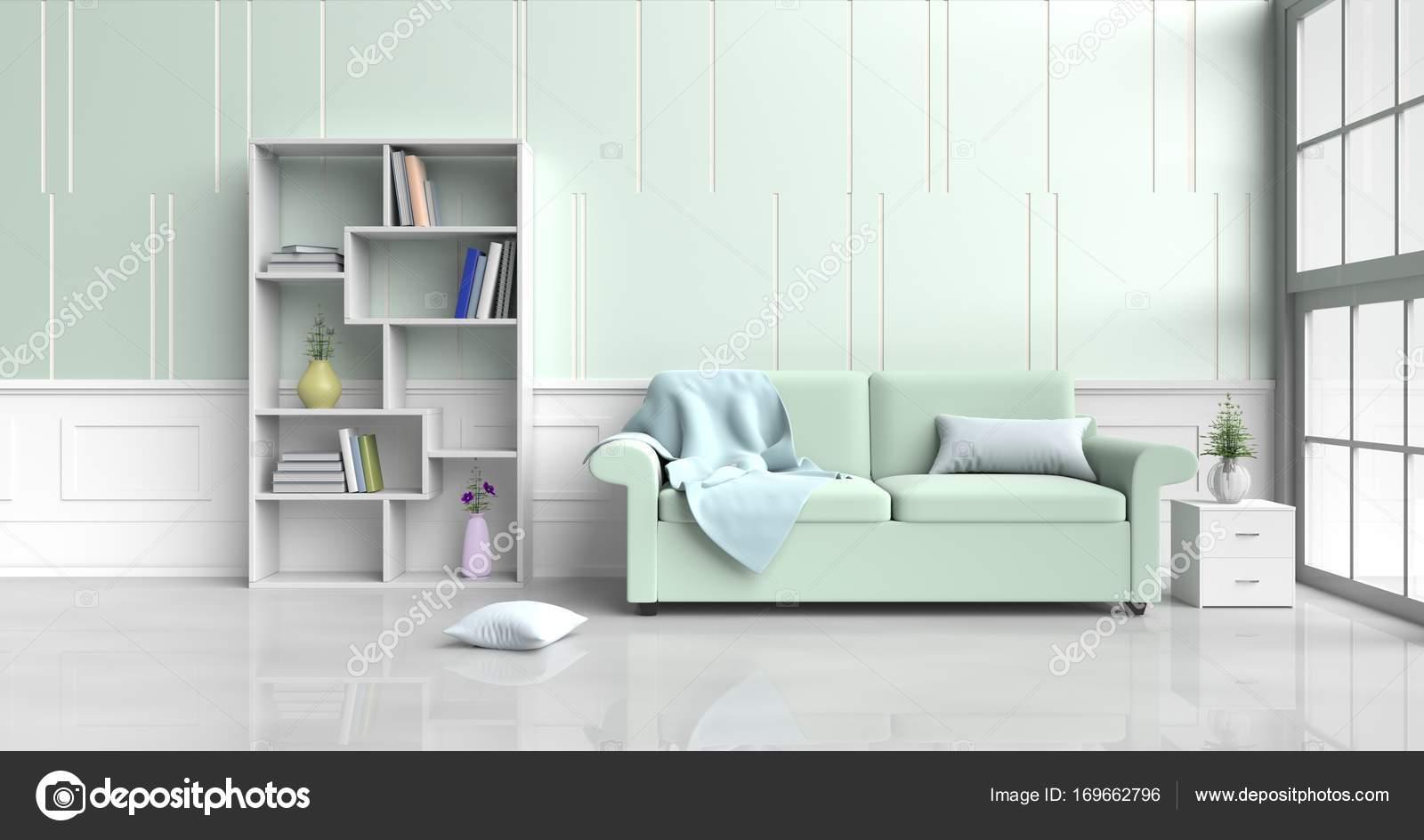 Weiß Grüne Zimmer Dekoriert Mit Grünen Sofa, Baum In Glasvase, Kissen, Holz  Nachttisch, Bücherregal, Blaue Decke, Fenster, Grün   Weißem Zement Wand Es  Ist ...
