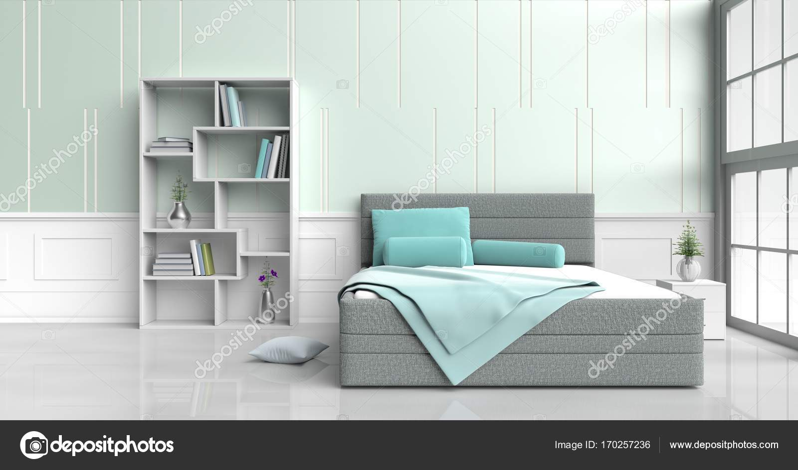 wit groen slaapkamer ingericht met boom in glazen vaas groene kussens houten nachttafel boekenkast groene deken venster groen witte cement muur is
