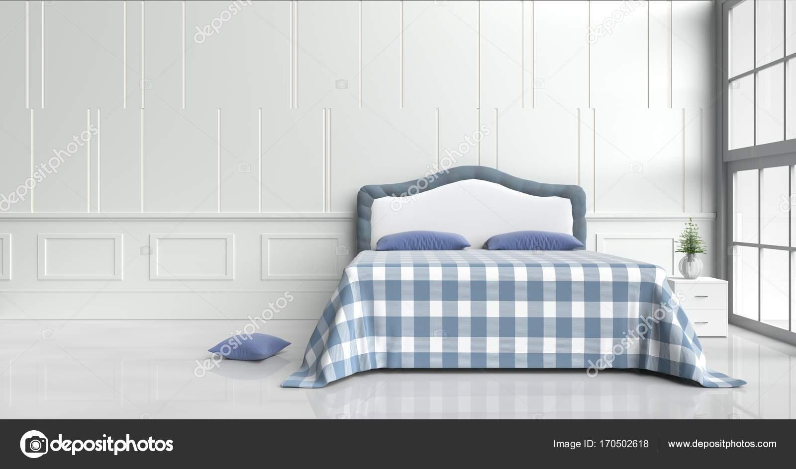 Licht Blauwe Slaapkamer : Slaapkamer ingericht met witte boom in glazen vaas licht blauwe