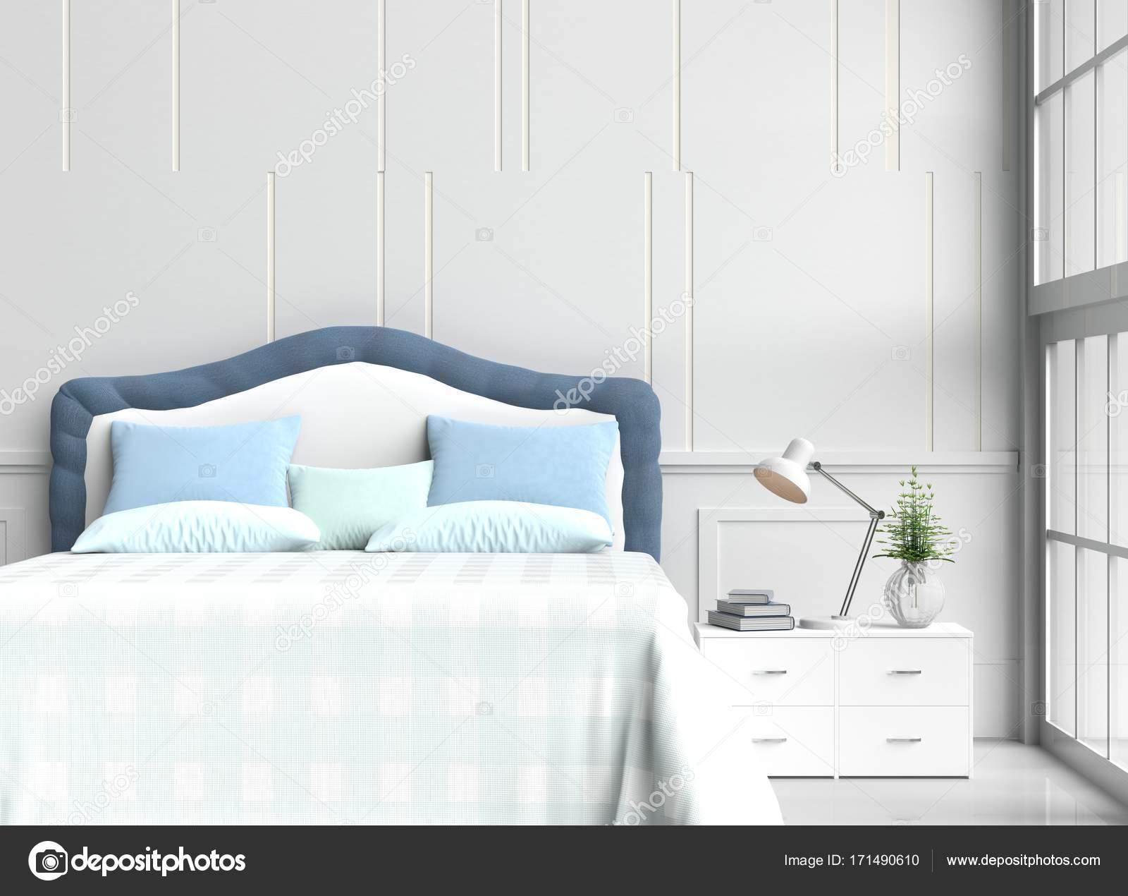 Bianco camera da letto decorata con albero in vaso di vetro, cuscini ...