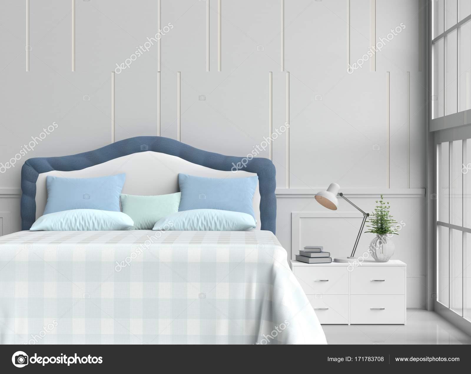 Slaapkamer Groen Wit : Slaapkamer ingericht met boom in glazen vaas blauw groene