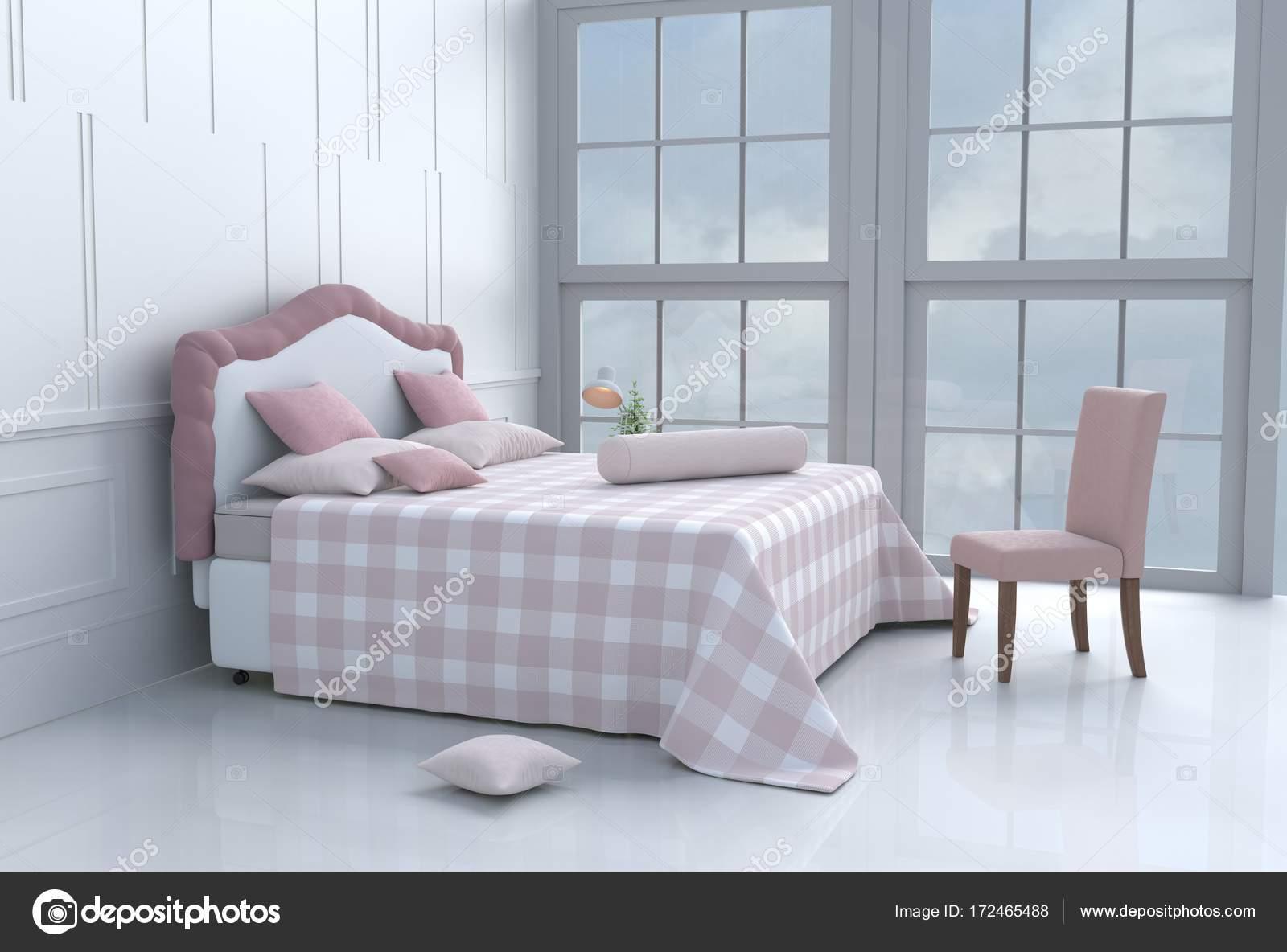 Lit blanc chambre décorée avec arbre dans vase en verre, oreillers ...
