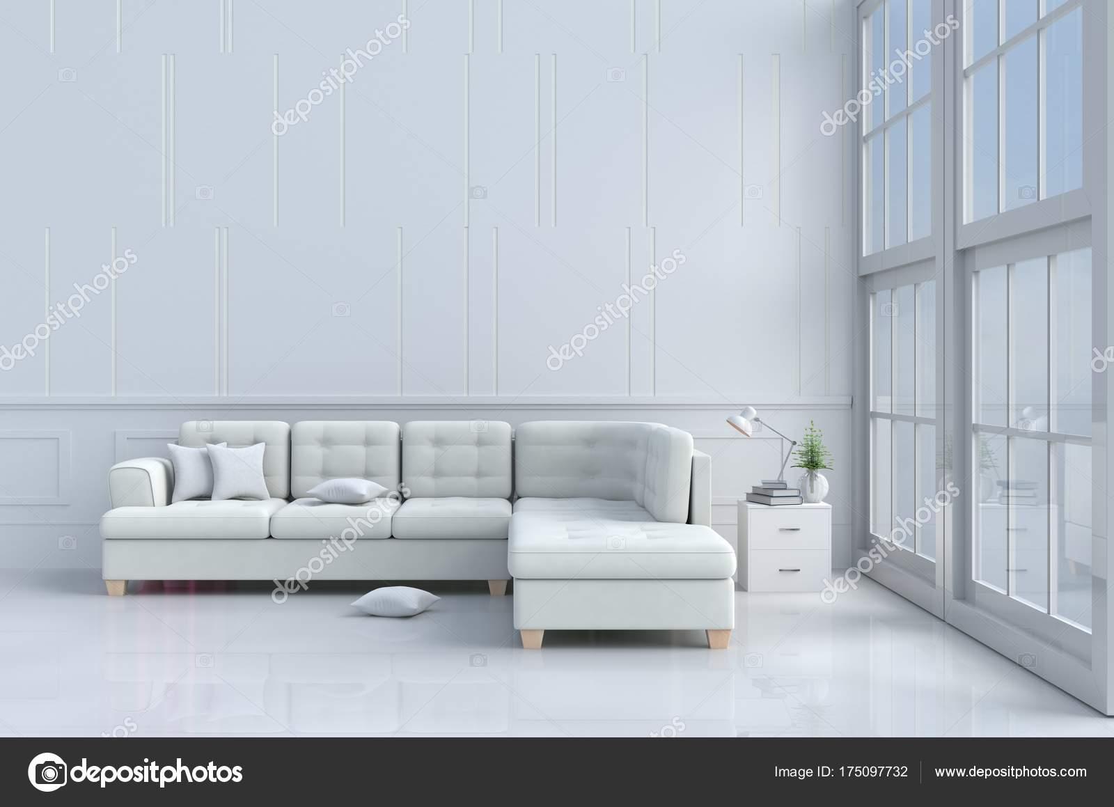 Weiße Wohnzimmer Dekoriert Mit Baum Glasvase Kissen Weißen Sofa Fenster U2014  Stockfoto
