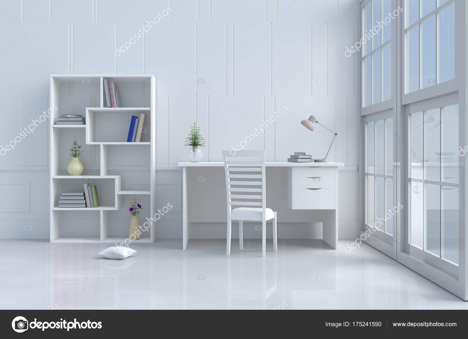 White Reading Room Decorated With Tree In Vase,pillow,white Chair And  Desk,window,sky,lamp,bookcase,flower,book.White Wall It Is Pattern, The Sun  Shines ...