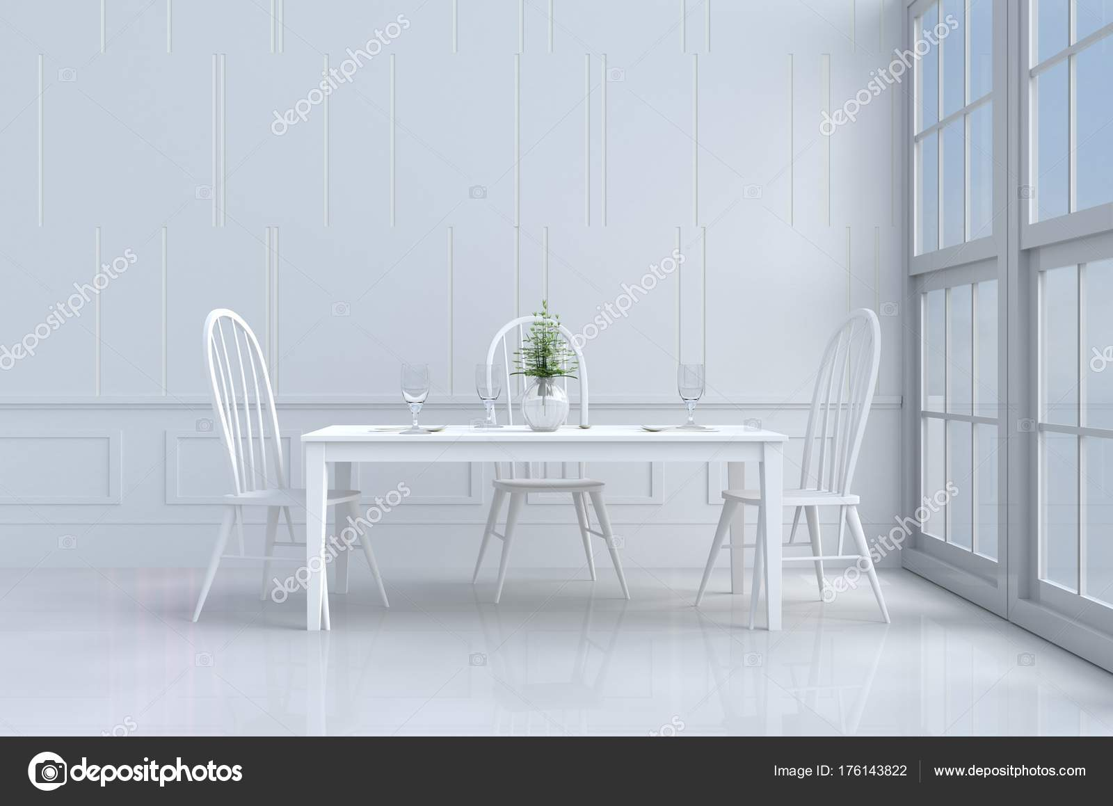 Weiss Essen Zimmer Dekoriert Mit Baum Vase Weißen Stuhl Und ...