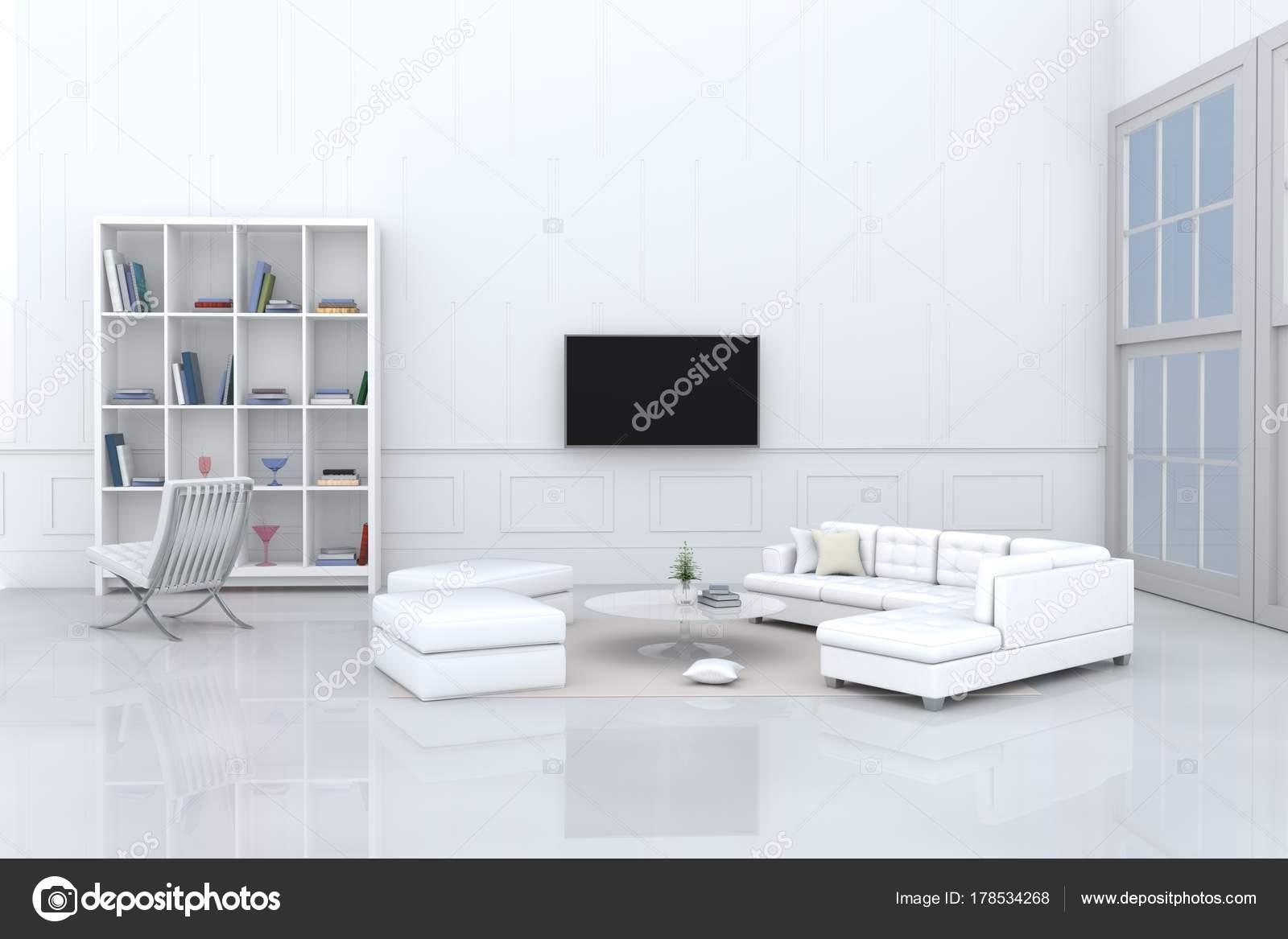 Weiße Wohnzimmer Dekoriert Mit Weißen Sofa Baum Glas Vase ...