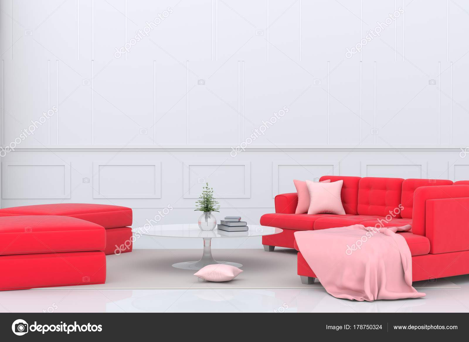 Living Room Valentine Day Decor Red Sofa Pink Fabric Pillow — Stock ...