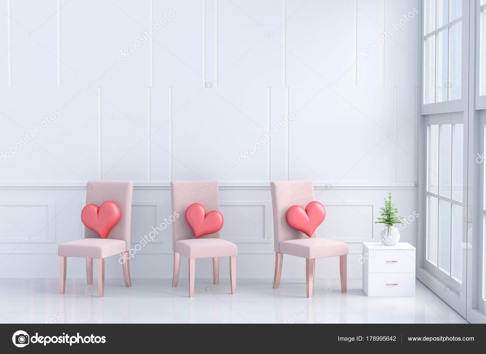 Superbe Coeurs Rouges Sur Orange Rose Chaise Dans Chambre Amour Decoru2013 Images De  Stock Libres De Droits