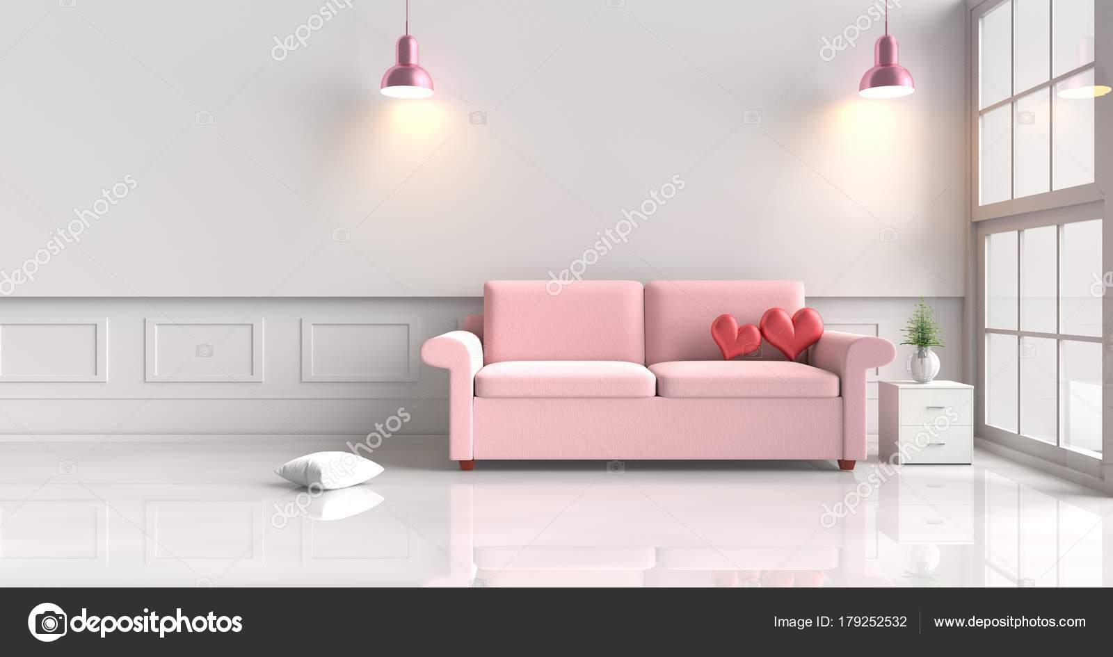 Dois Cora Es Vermelhos Sof Cor Rosa Decora O Sala Branca Com  -> Abajur De Parede Para Sala