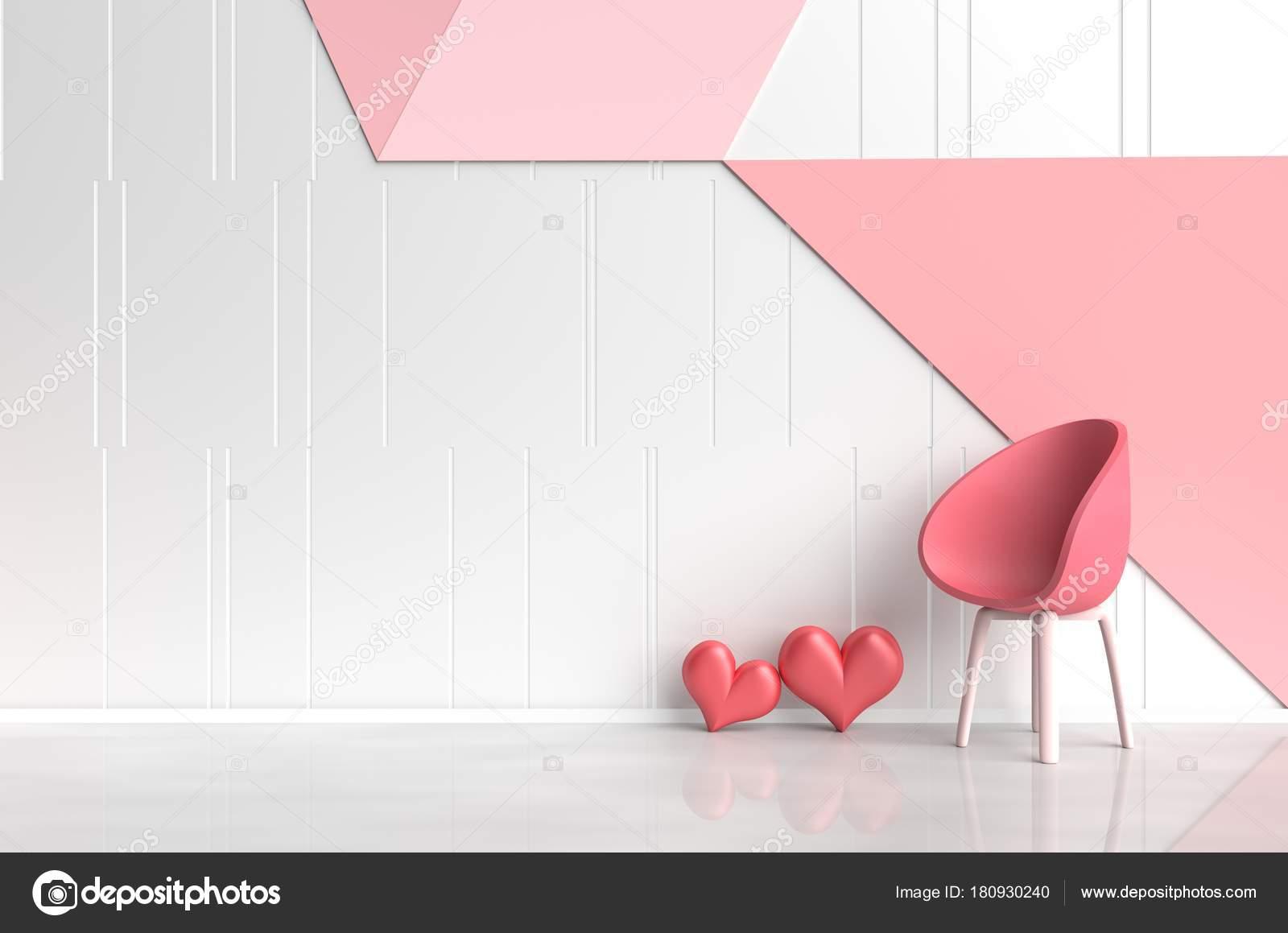Chambre Rose Blanc Rouge Amour Sont Ornés Chaise Rouge Arbre ...