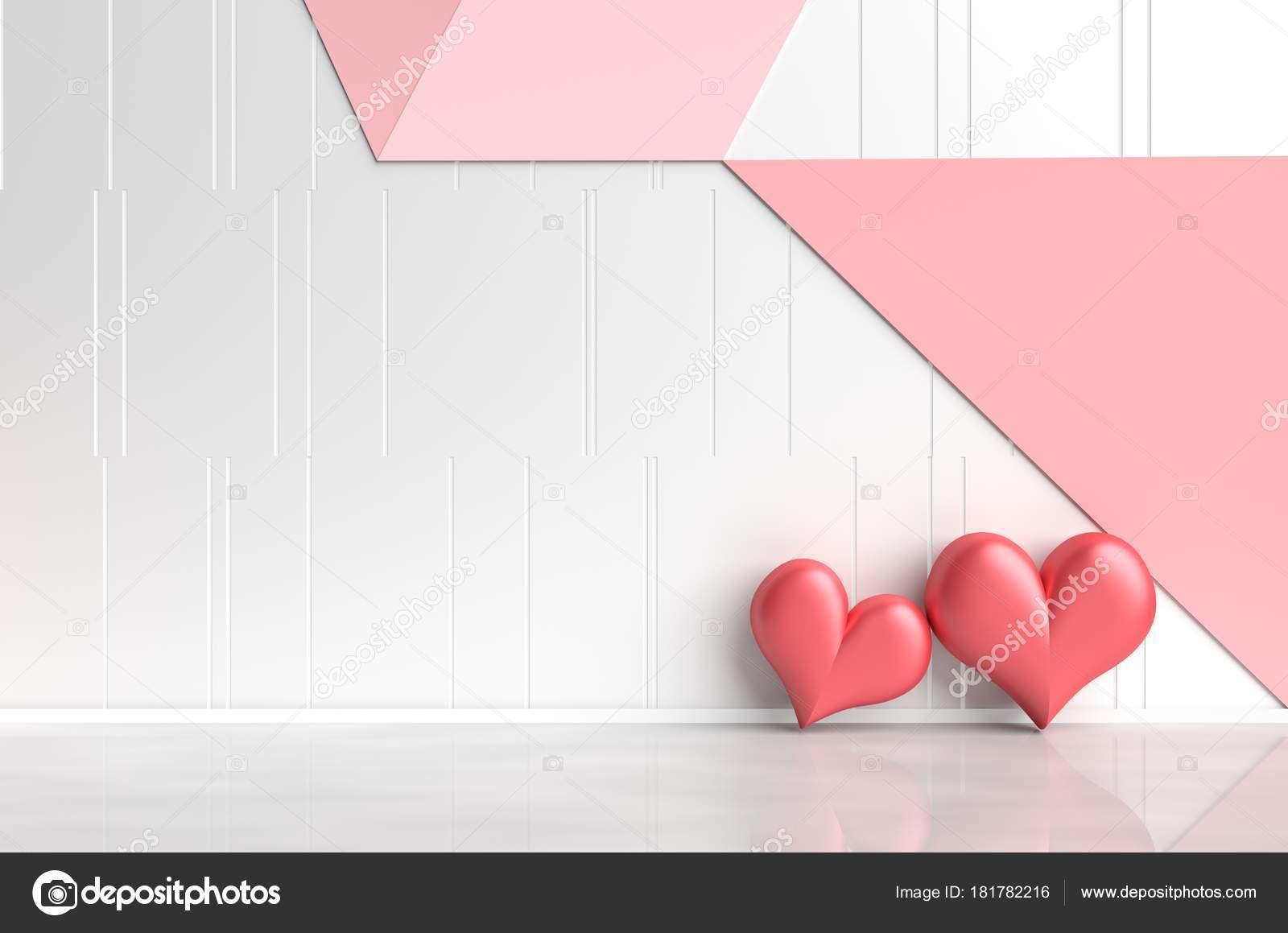 Weiß Rot Rosa Zimmer Der Liebe. Dekoriert Mit Roten Herzen, Weiß, Rosa Und  Roten Betonmauer Gittermuster Ist. Zimmer Der Liebe Am Valentinstag.