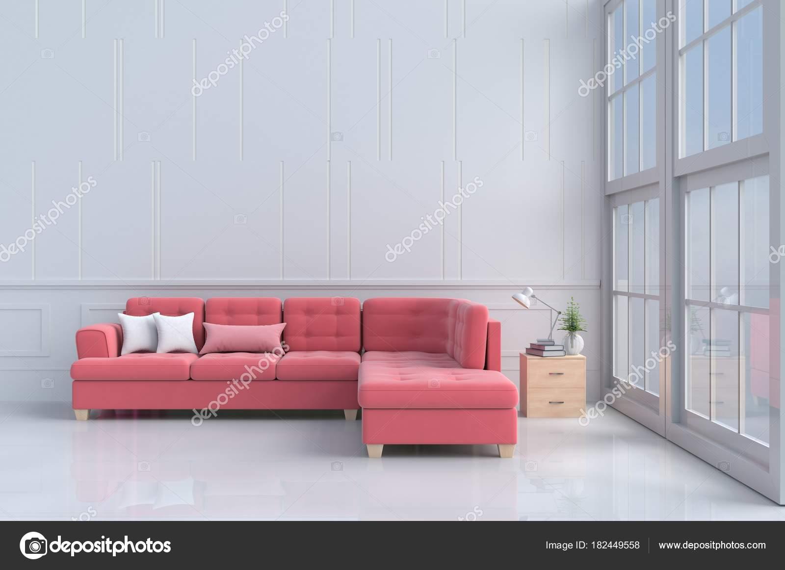 Rot Rosa Sofa Weiß Wohnzimmer Dekor Mit Baum Kissen Holz — Stockfoto ...