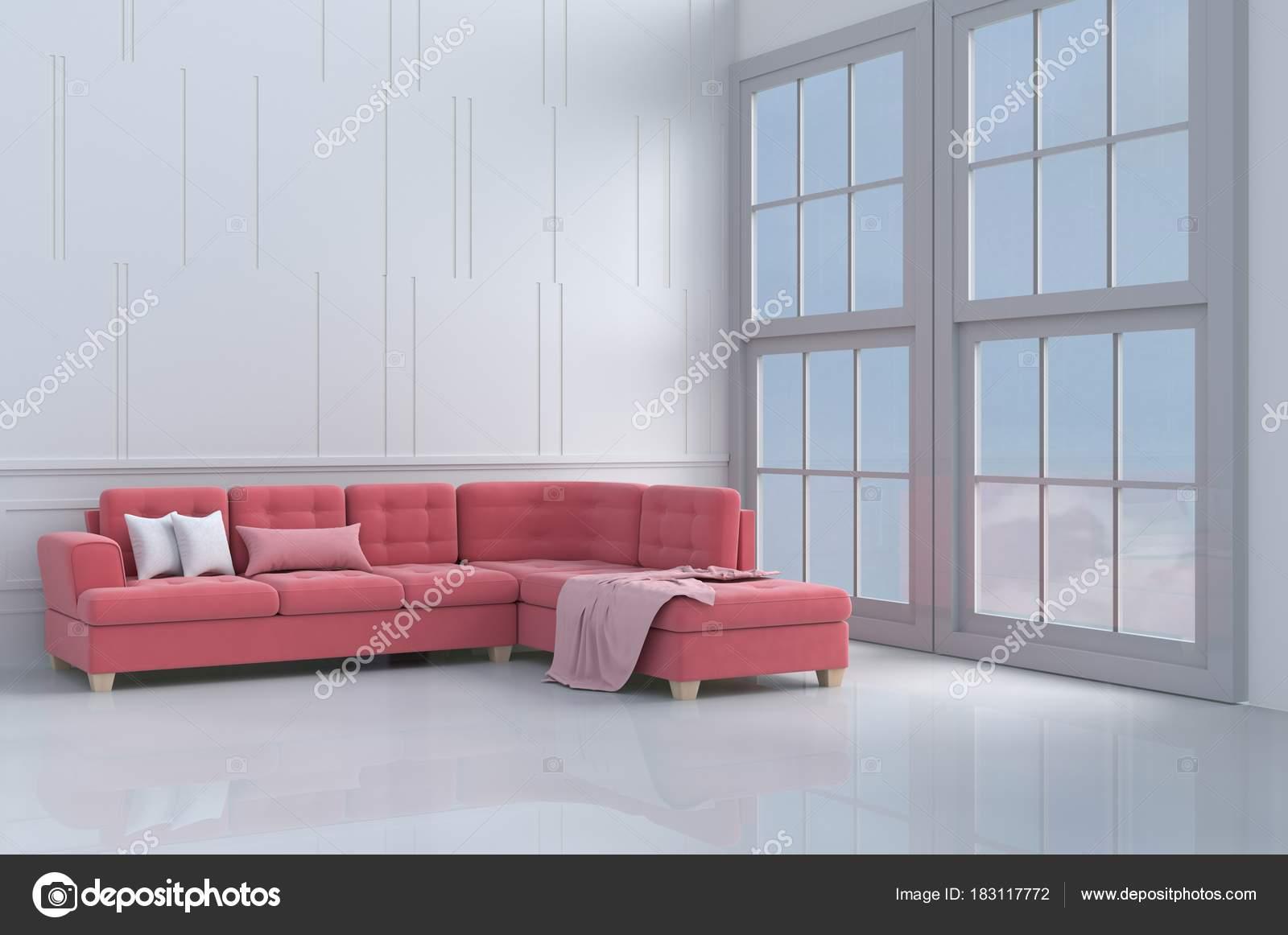 Rot Rosa Sofa Der Liebe Weiß Wohnzimmer Dekor Mit Kissen — Stockfoto ...
