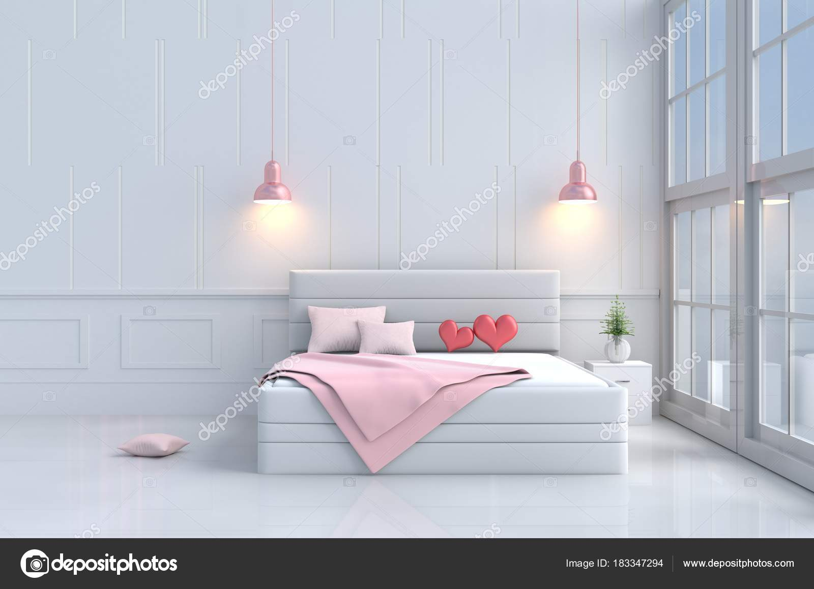 Camera Letto Rosa : Cuori rossi sul letto rosa camera letto amore arredamento con