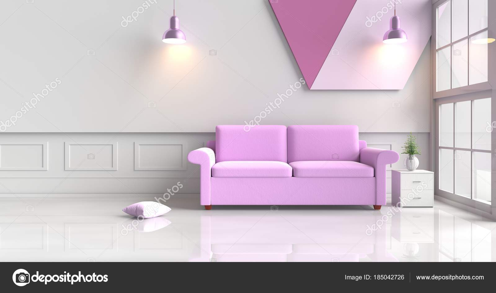 Enjoyable White Purple Room Decorated Purple Sofa Tree Glass Vase Theyellowbook Wood Chair Design Ideas Theyellowbookinfo
