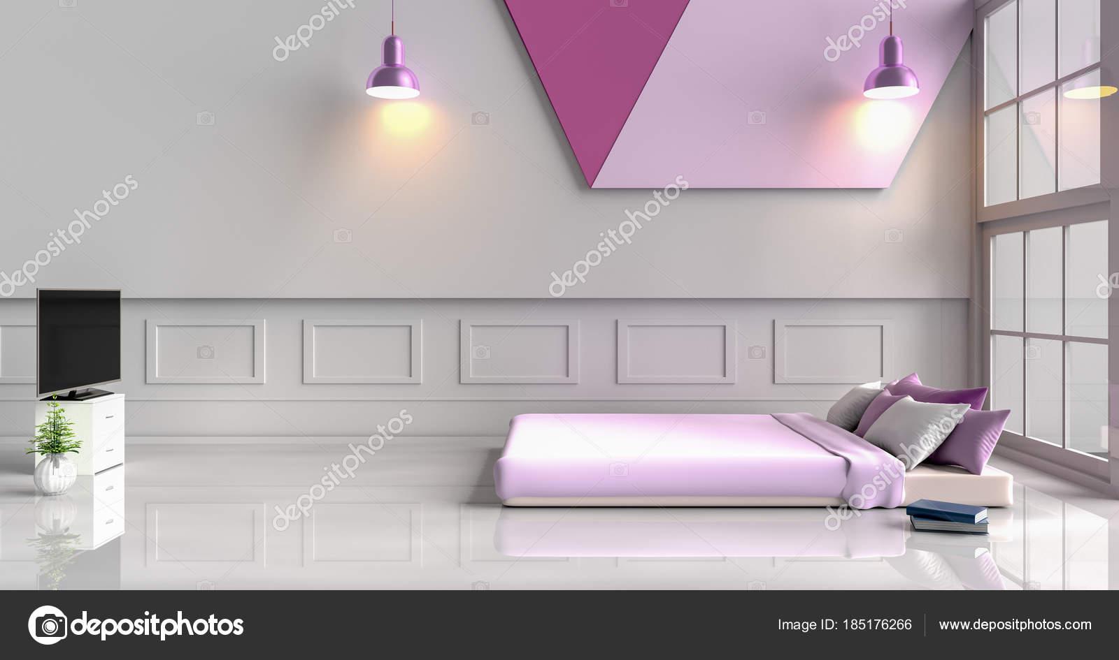 Camere Da Letto Viola : Camera letto bianco viola decorata con letto viola albero vaso
