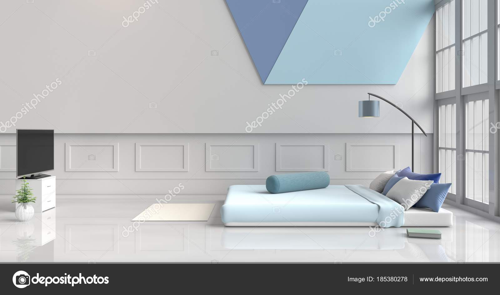 wei blaue schlafzimmer dekoriert mit licht blau bett baum glasvase stockfoto good24 185380278. Black Bedroom Furniture Sets. Home Design Ideas