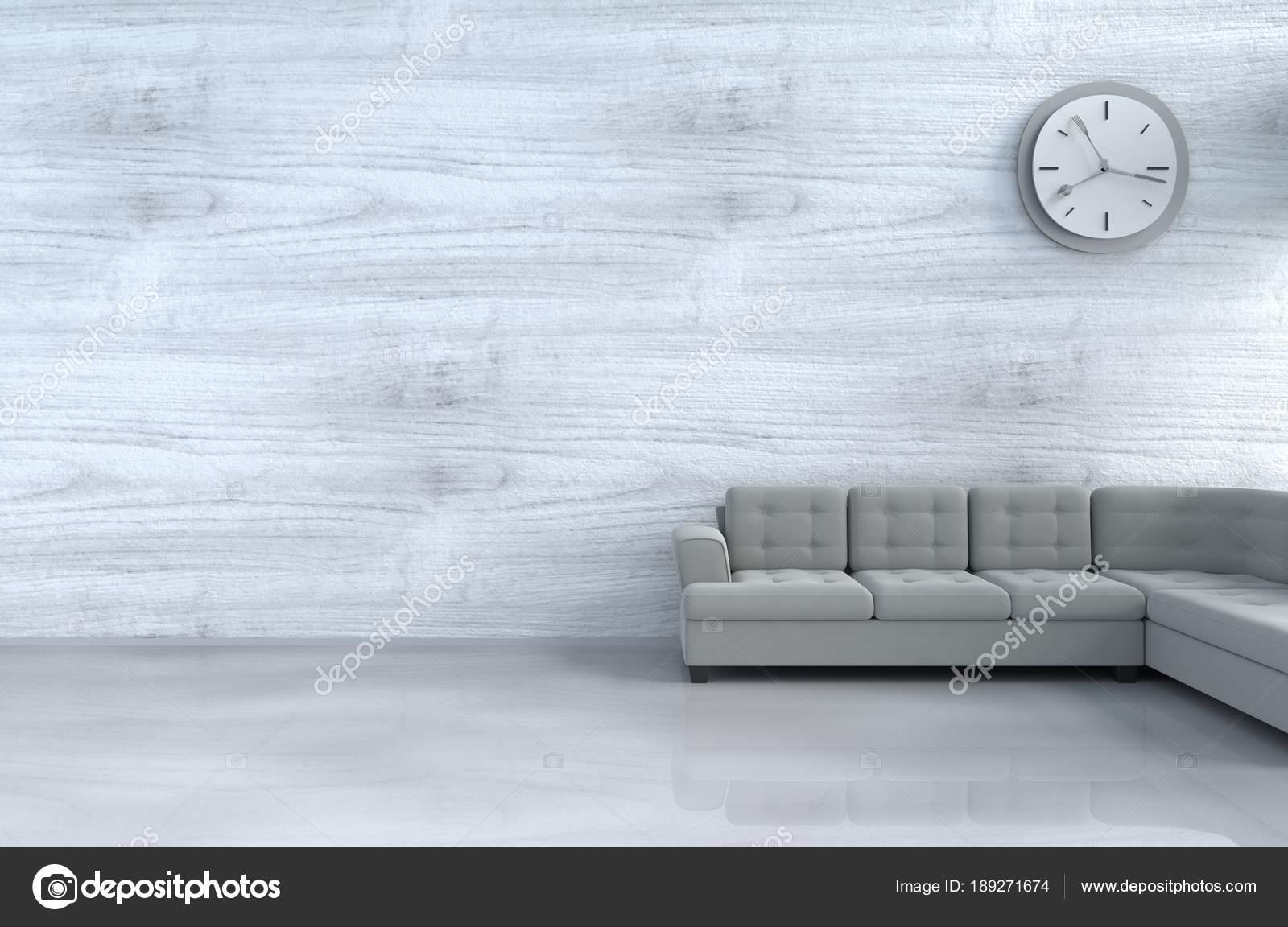 Decor Gris Blanc Salon Avec Canape Gris Horloge Murale Mur