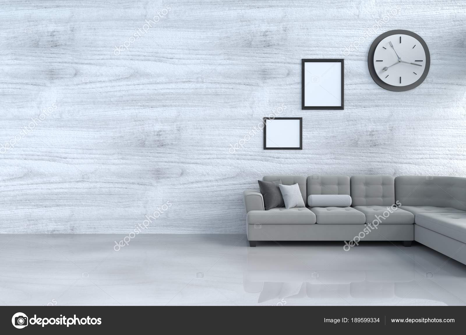 Decoraci n sal n color blanco con sof gris reloj pared for Decoracion salon con sofa gris