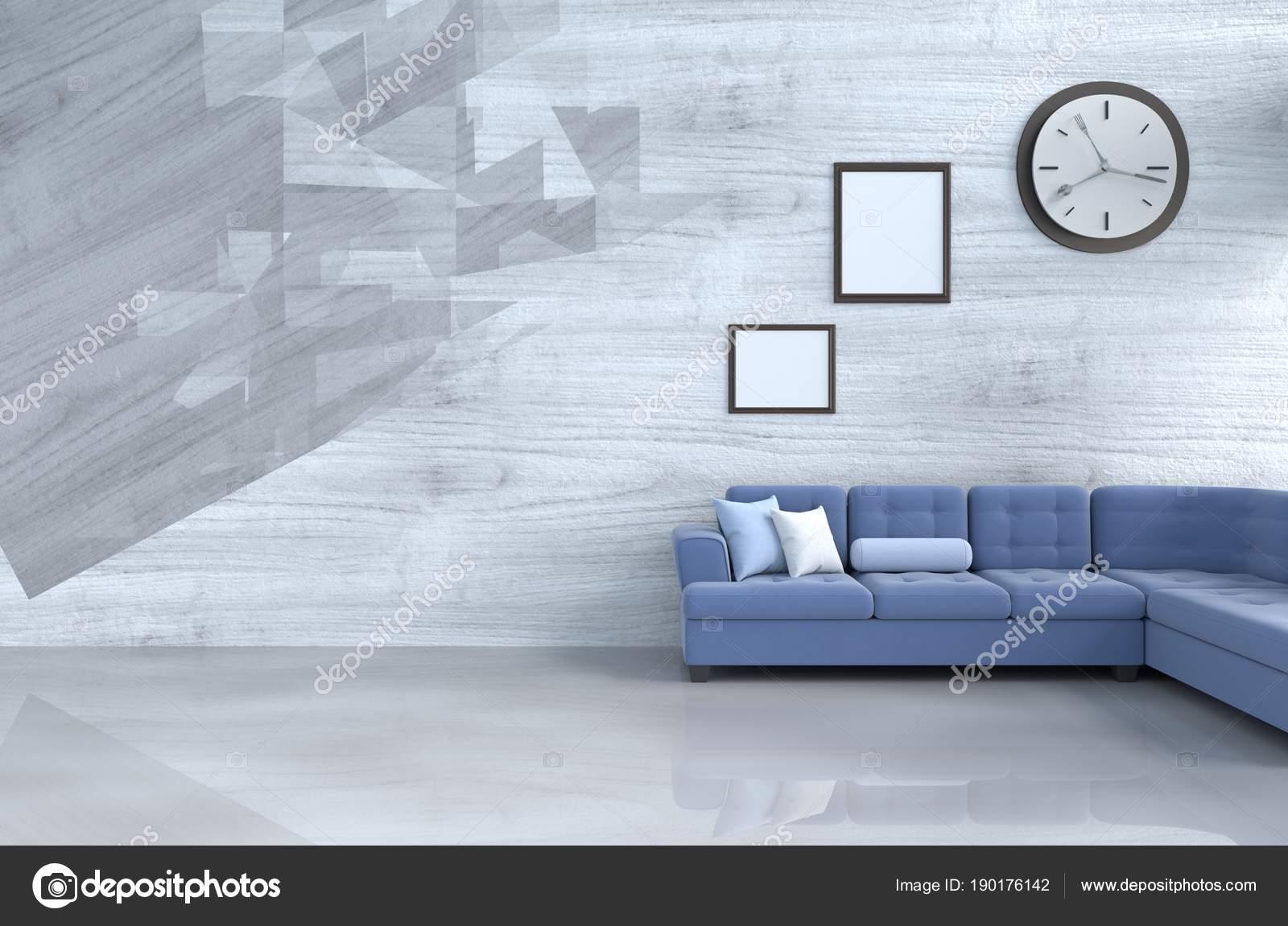 Cinzento Branco Sala Decora O Com Sof Azul Rel Gio Parede Parede  -> Decoracao De Sala Azul