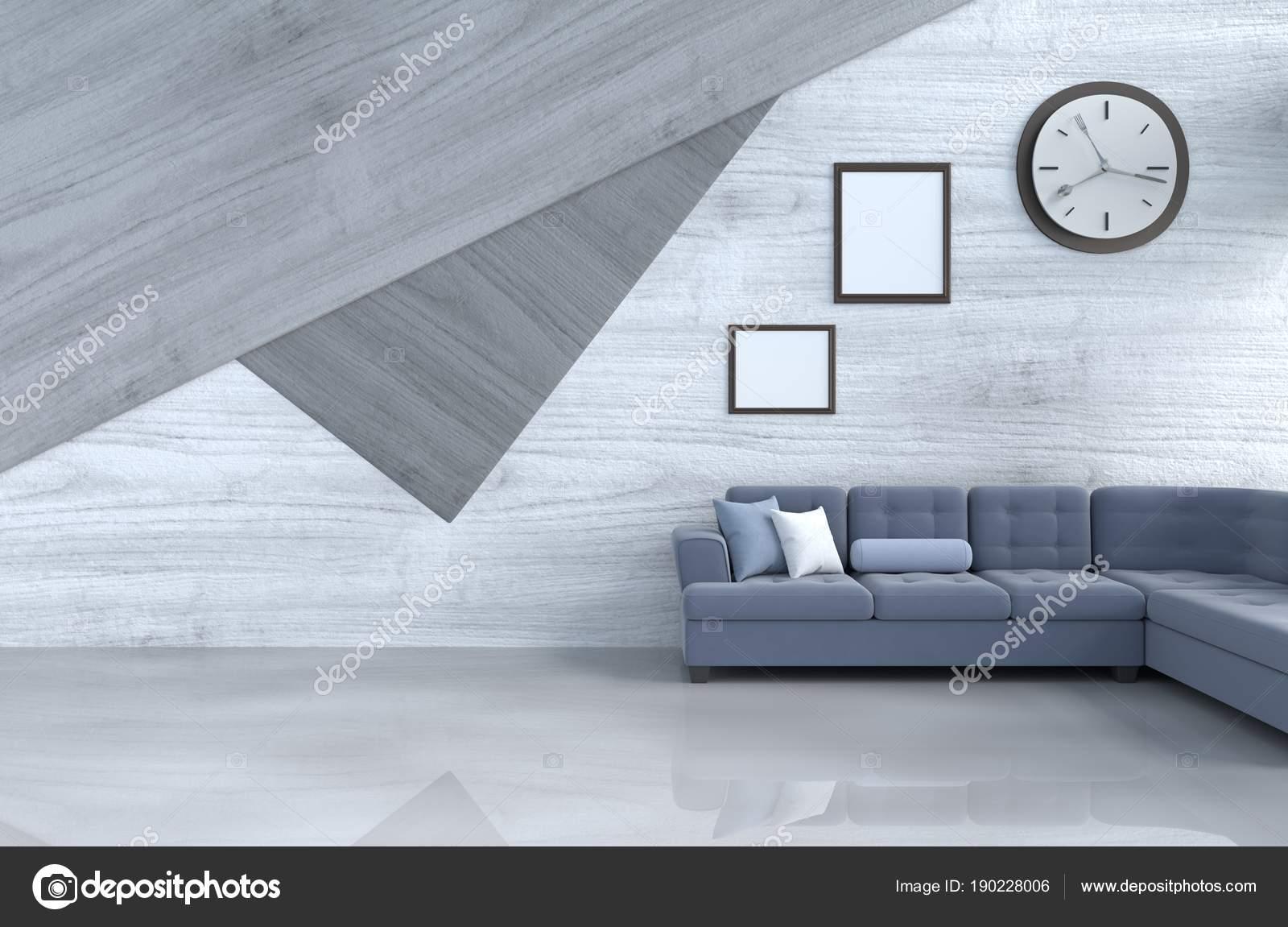 Grau Weiß Wohnzimmer Dekor Mit Blauem Sofa Wanduhr Weiße Holz U2014 Stockfoto