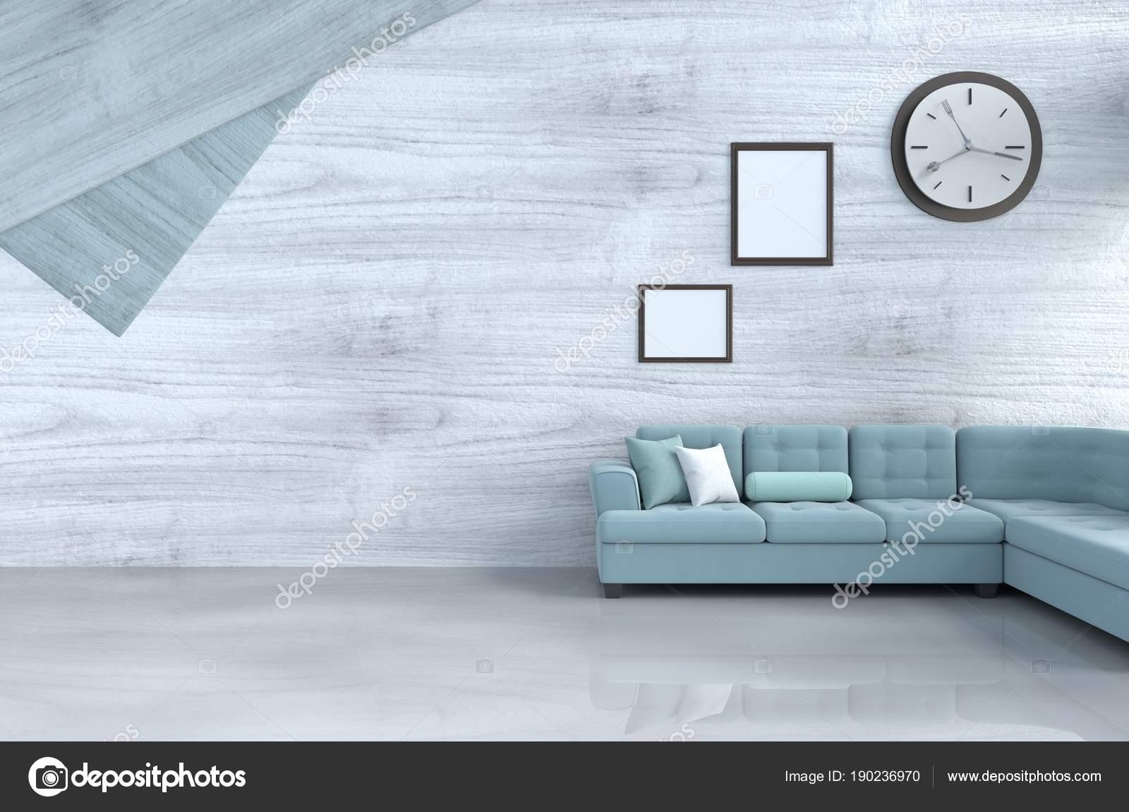 Grau Weiß Wohnzimmer Dekor Mit Grünen Sofa Wanduhr Weiße Holz U2014 Stockfoto