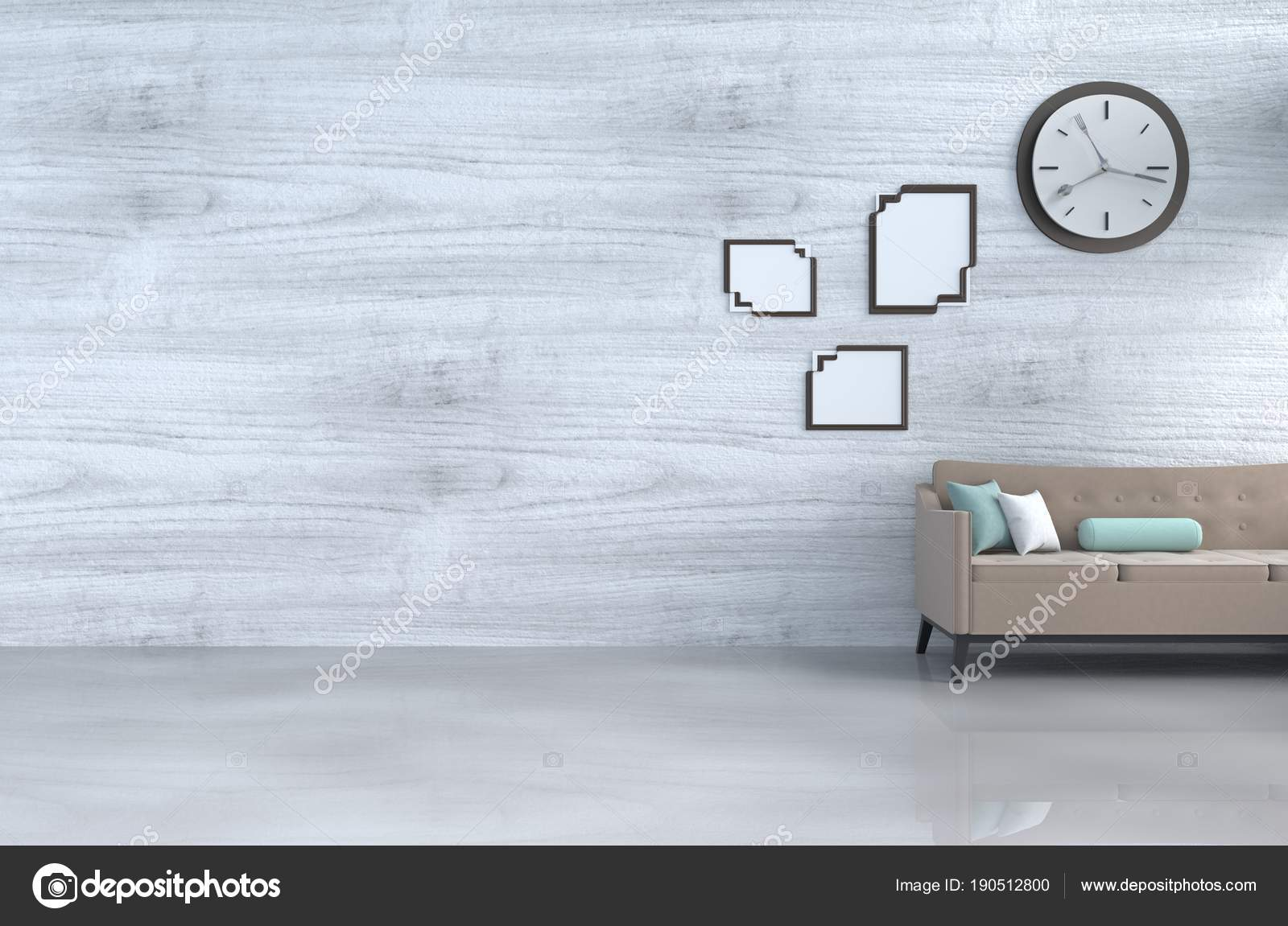 Grau Weiß Wohnzimmer Dekor Mit Braunen Sofa Wanduhr Weiße Holz ...
