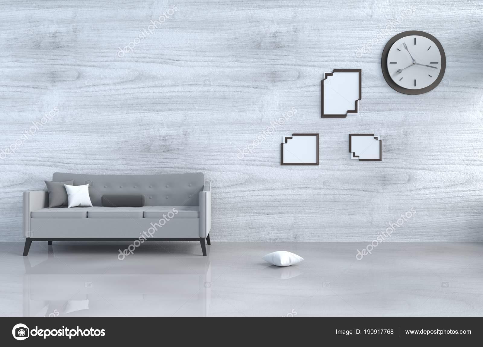 Grau Weiß Wohnzimmer Dekor Mit Grauen Sofa Wanduhr Weiße ...