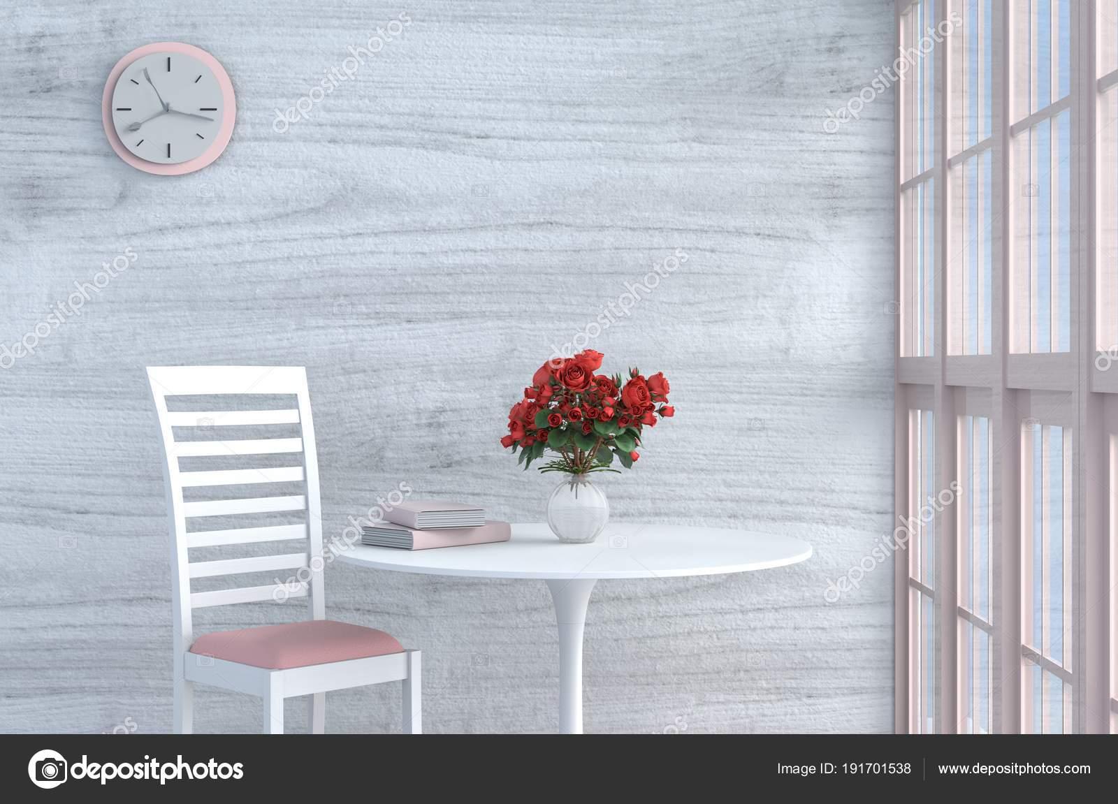 Grau Weiß Wohnzimmer Dekor Mit Rosa Weißen Stuhl Wanduhr Weiße ...