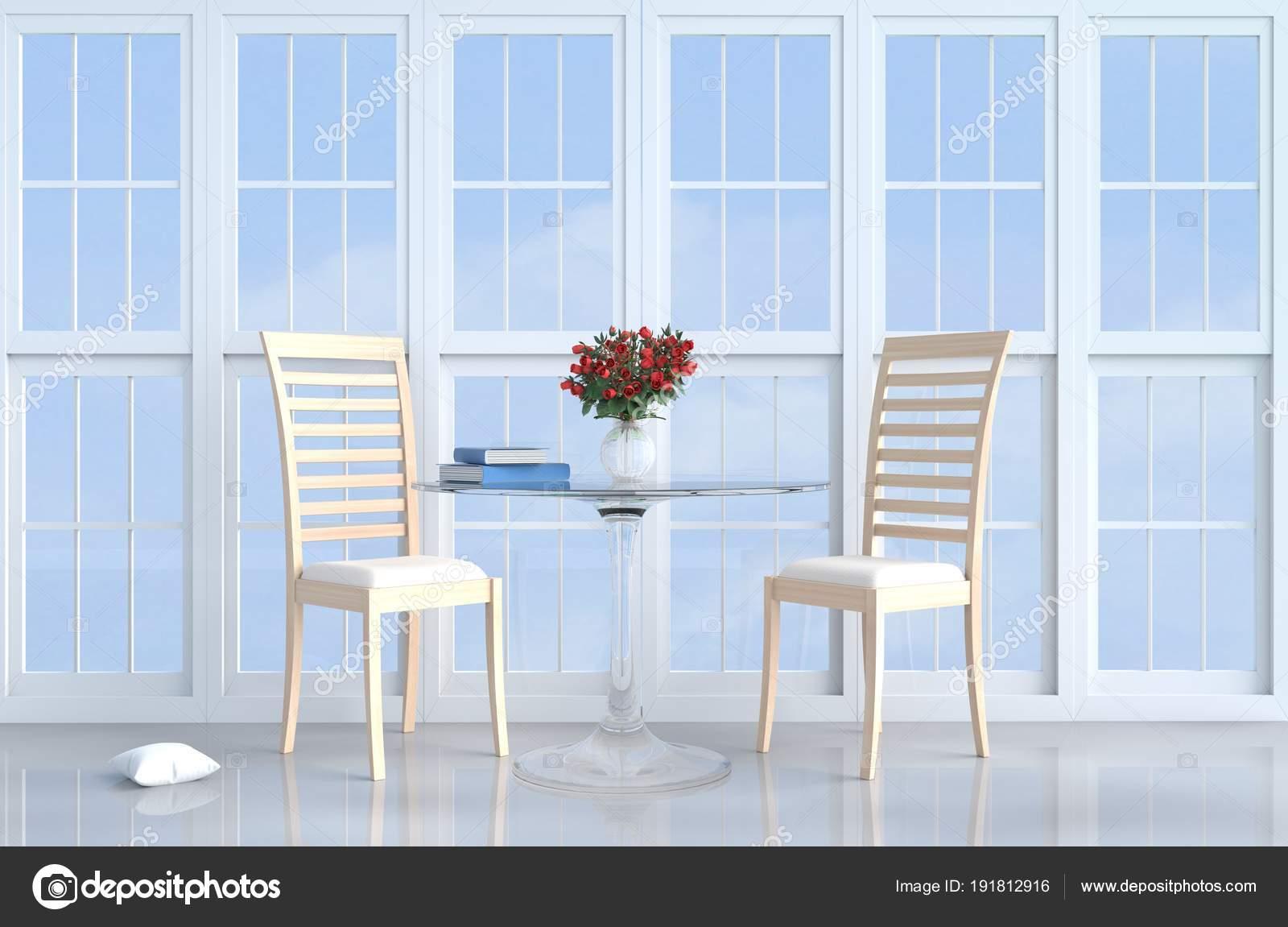 Dcor De Salon Blanc Avec Chaise En Bois Fentre Blanche Coussin Table Sol Ciment Gris Rouge Rose Vase Le Soleil Brille Travers La