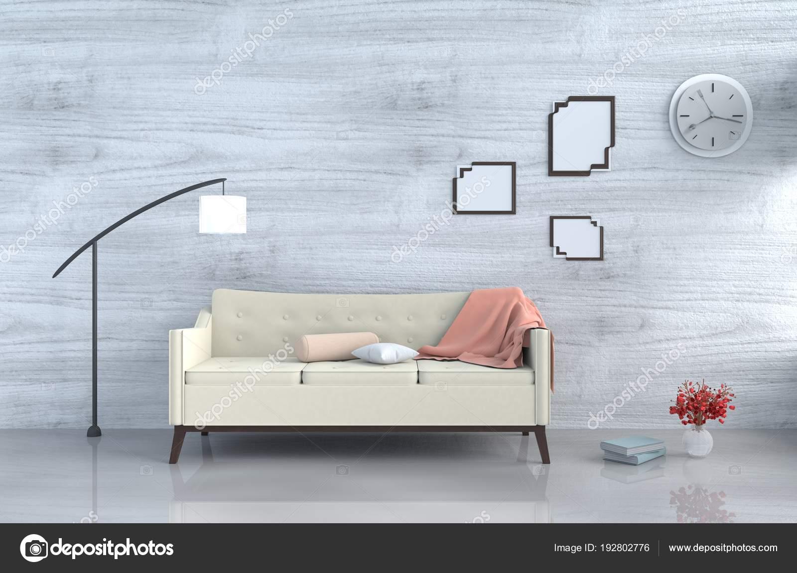 Grau Weiß Wohnzimmer Dekor Mit Sahne Sofa Wanduhr Weiße Holz U2014 Stockfoto