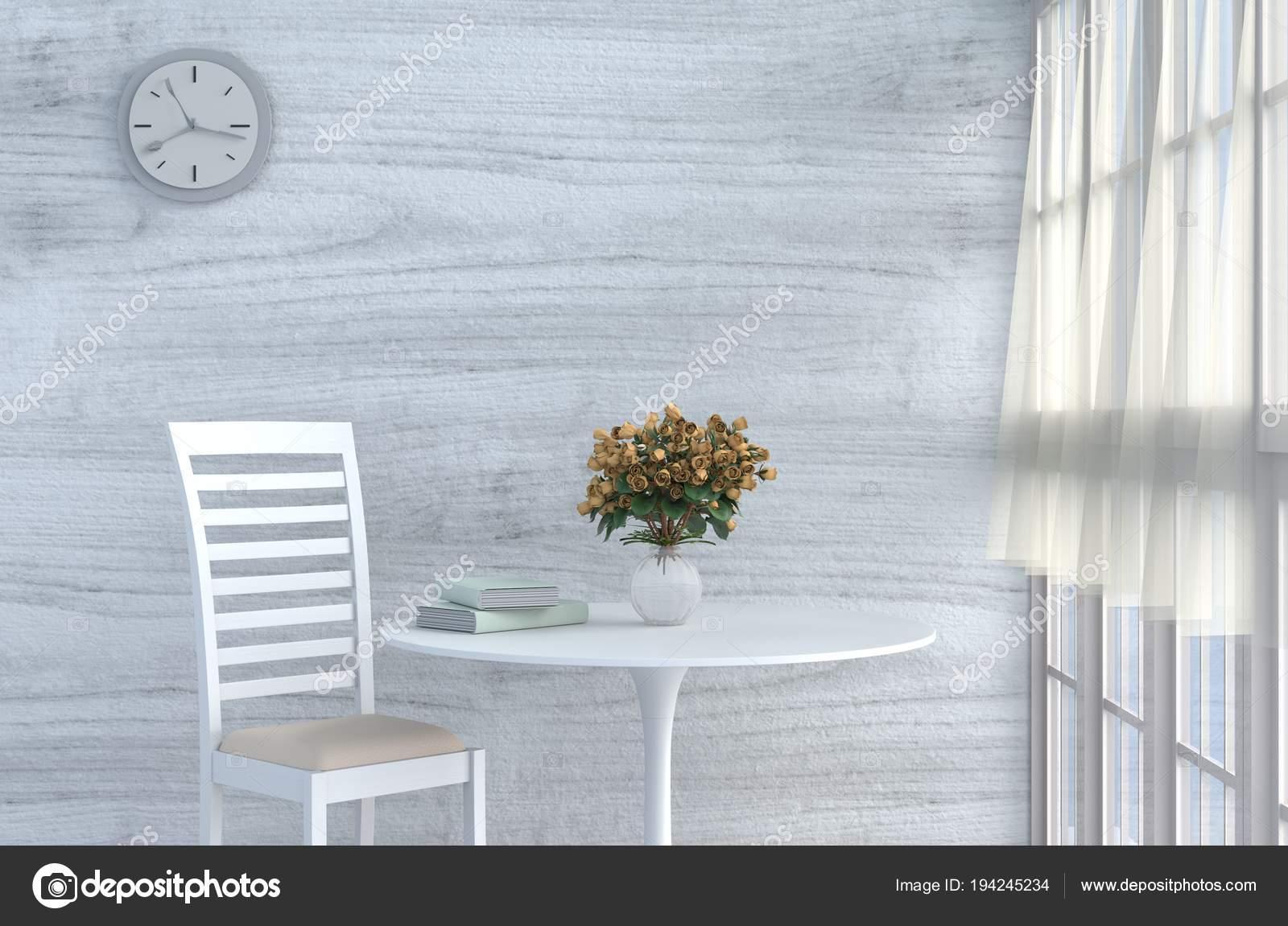 Grau Weiß Wohnzimmer Dekor Mit Creme Weißen Stuhl Wanduhr Weiße ...