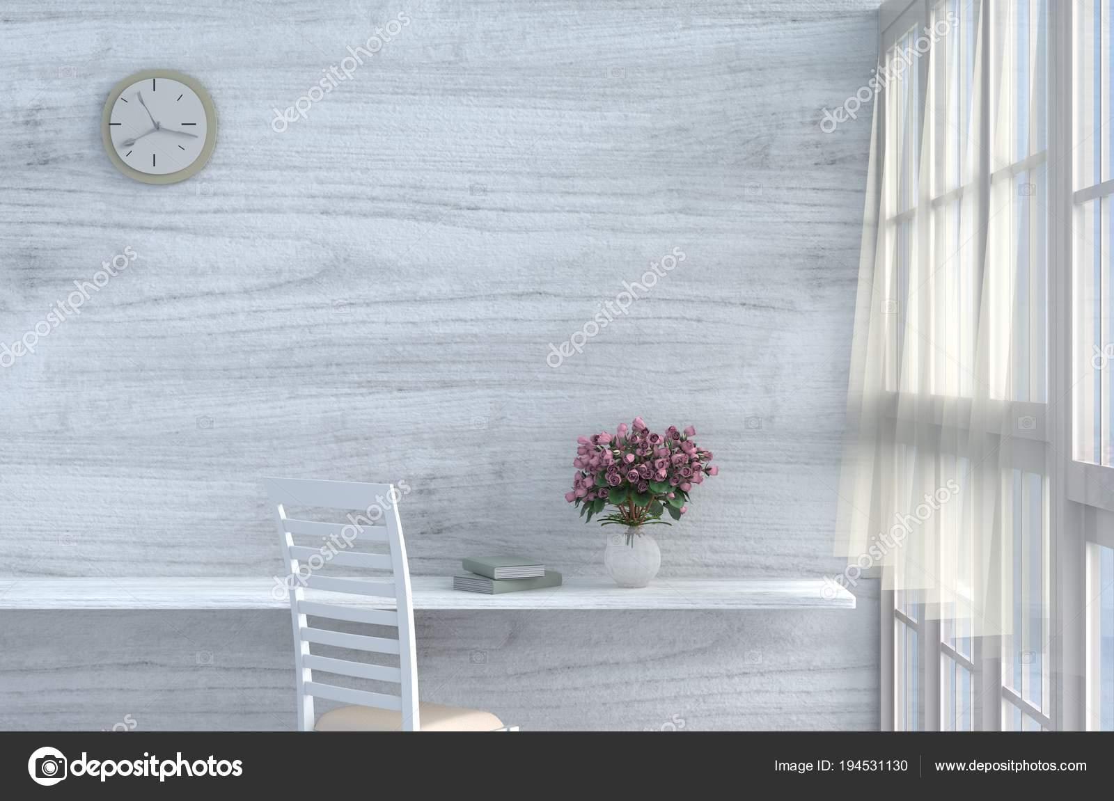 Grau Weiß Wohnzimmer Dekor Mit Creme Weißen Stuhl, Wanduhr, Weiße Holz  Wand, Fenster, Tisch, Grau Weiße Zementfußboden, Rot   Rosa Rose, Vorhang,  Vase.