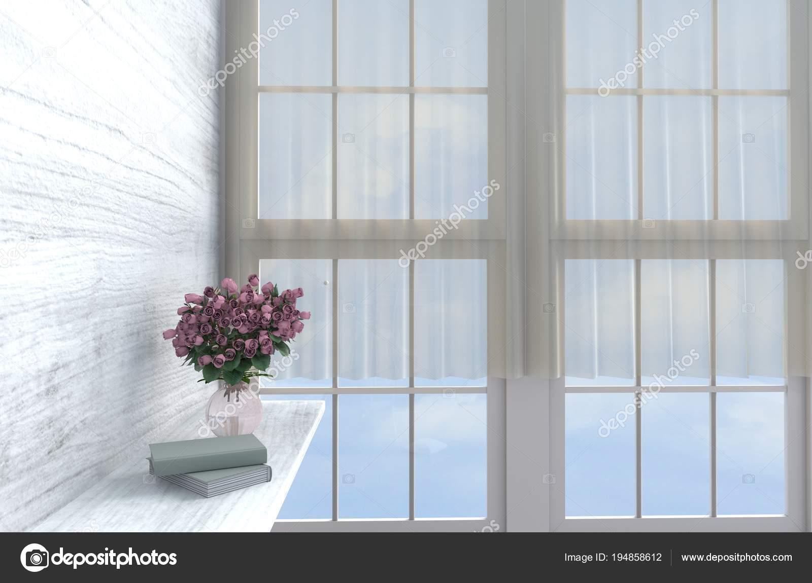 Grau Weiß Wohnzimmer Dekor Mit Wanduhr Weiße Holz Wand Fenster U2014 Stockfoto