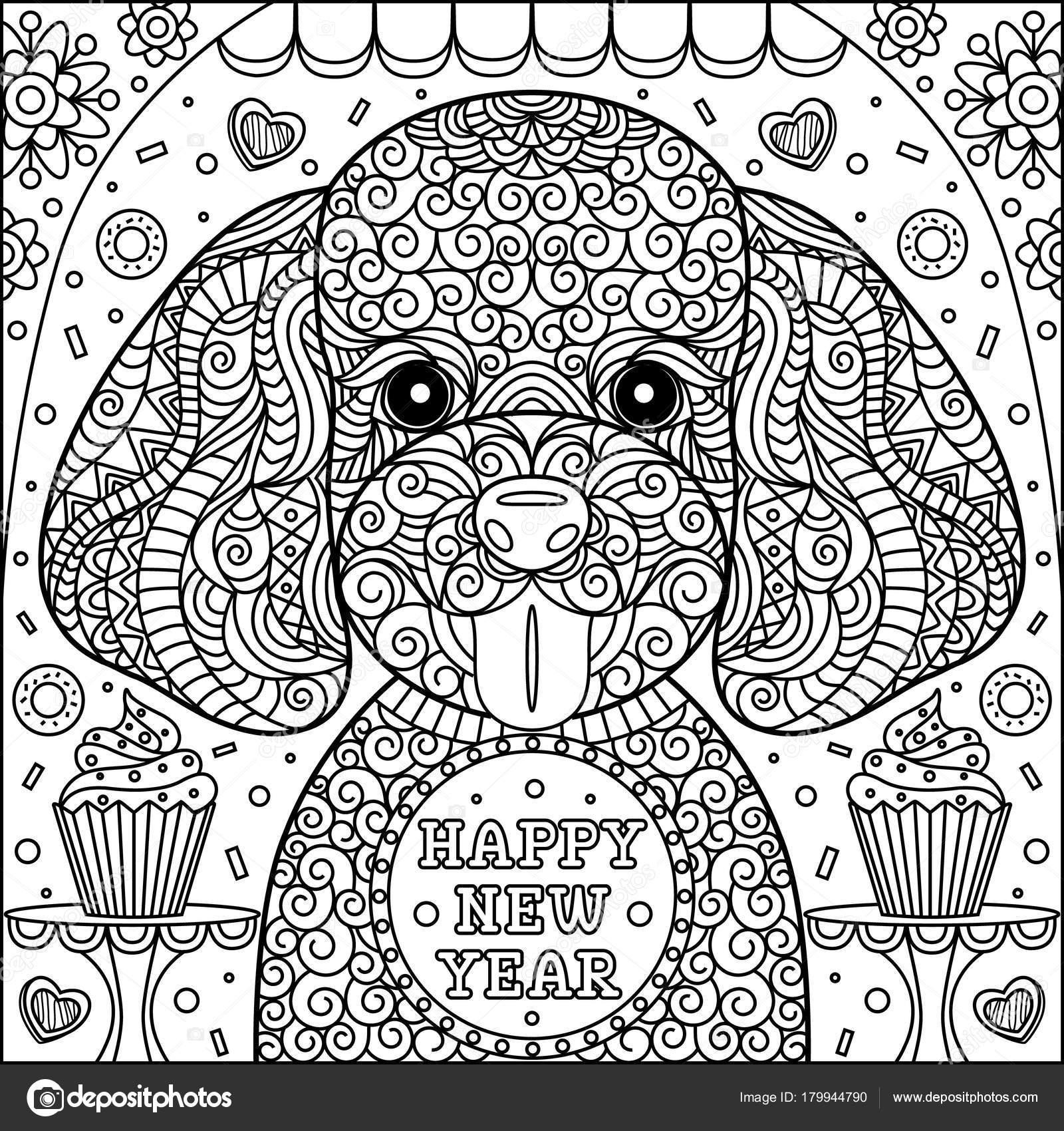 Kleurplaten Huisdier.Kleurplaat Voor Volwassenen Kinderen Hond Symbool Van Nieuwjaar