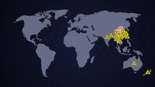 Biohazard varování na pozadí mapy světa. Na mapě světa je znázorněn nárůst virů po celém světě. Corona virus COVID-19, čínská virová infekce s červeným ukazatelem, rozlišení 4k. 3D scéna