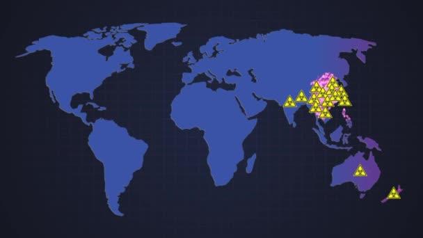 Biohazard warning on a world map background. Shows the increase of viruses around the world. Corona virus COVID-19