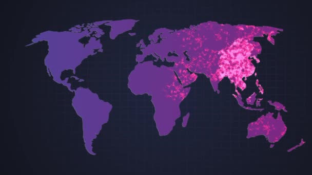 Warning on a world map background. Shows the increase of viruses around the world. Corona virus COVID-19