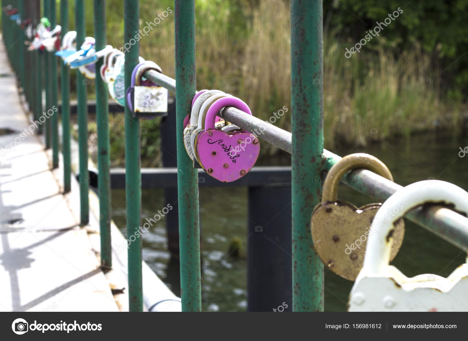 The Lock On The West On The Bridge As A Symbol Of Love Stock