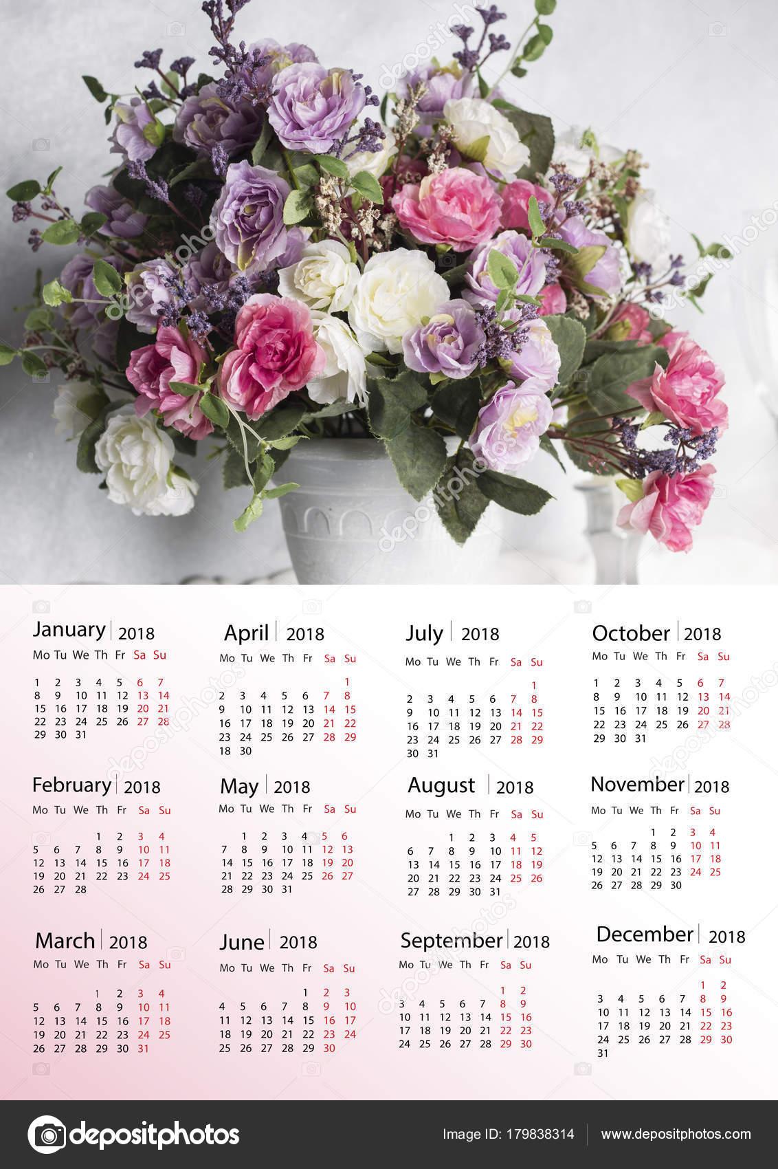 Beautiful Flowers Vase Calendar 2018 New Year Stock Photo
