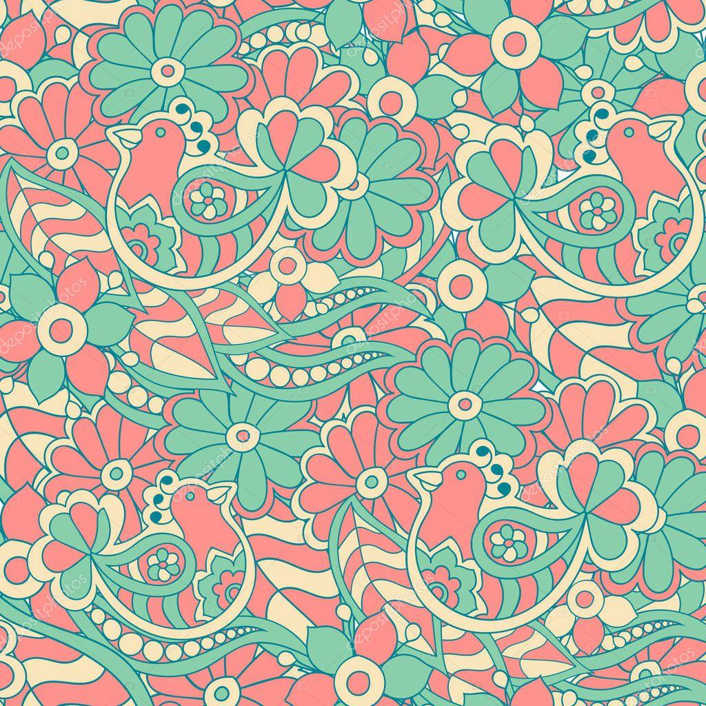 09d257ea7270 Απρόσκοπτη Διάνυσμα Εθνικ Μοτίβο Tribal Πουλιά Και Λουλούδια Πολύχρωμο  Ύφασμα — Διανυσματικό Αρχείο © katyasuresh  193385030