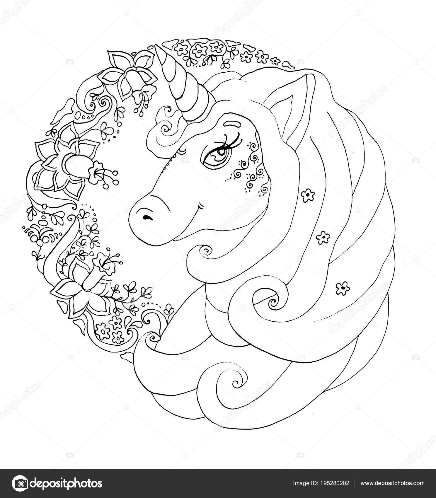 unicorn portrait black and white outline coloring book page photo by katyasuresh