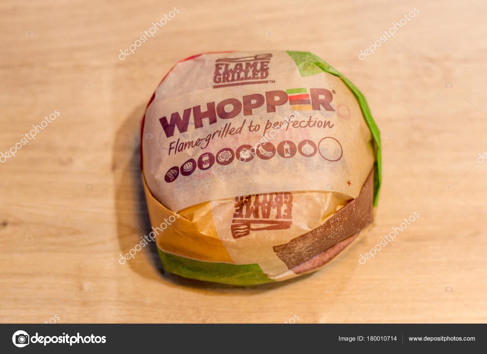 Gdansk Poland January 2018 Whopper Sandwich Paper Burger King