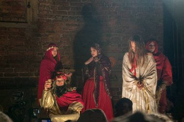 Gdansk, Poland - March 30, 2018: Historical reconstruction of biblical events at night. Mystery of the Passion Play of Jesus Christ in Gdansk.