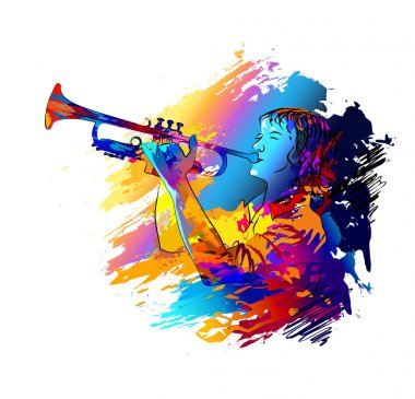Trumpet player. Colorful vector illustration