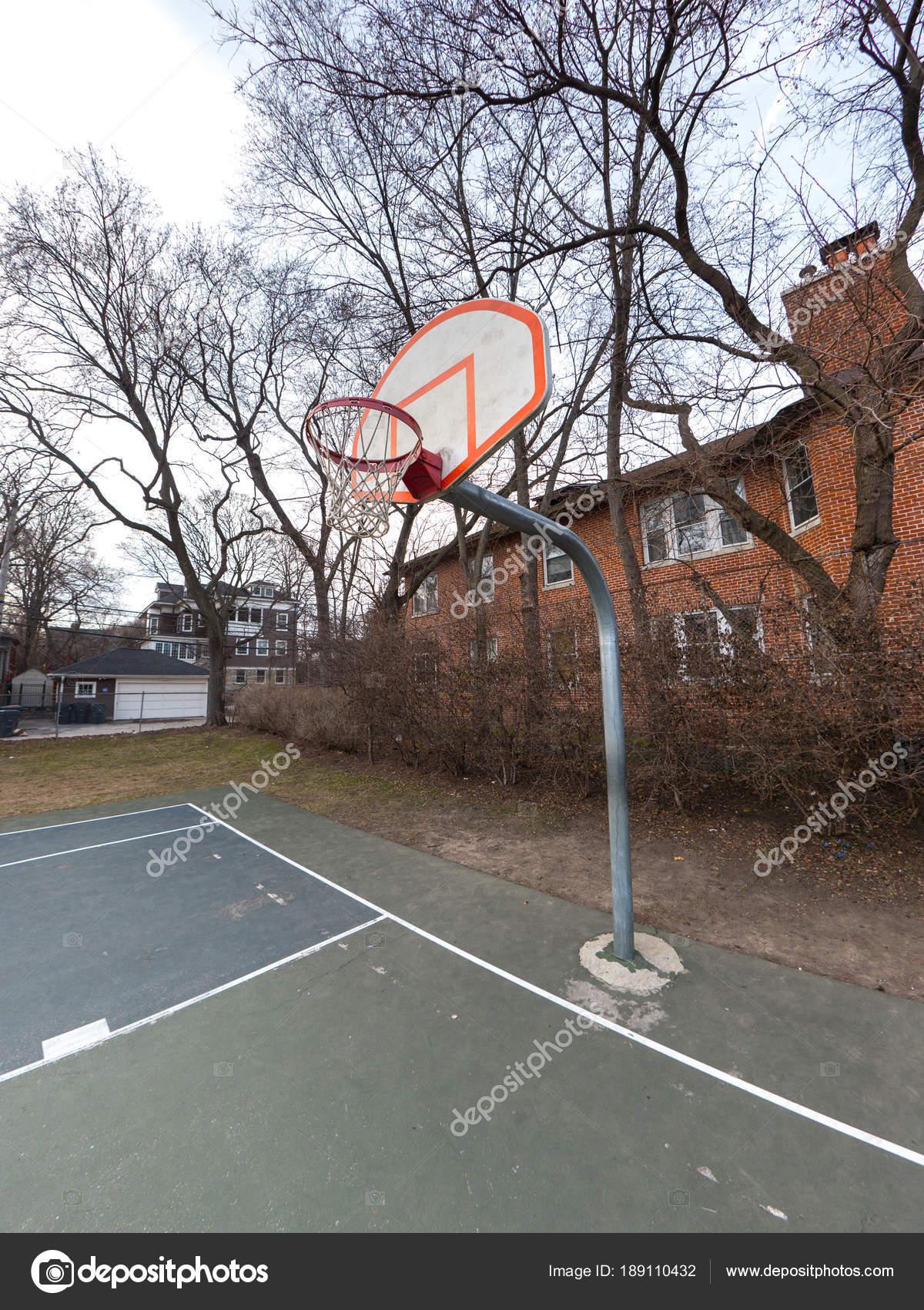 Photograph Urban Outdoor Basketball Court White Orange Backboard Rim Net U2014  Stock Photo